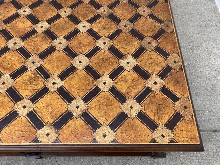 Mid Century Lacquered and Gilt Coffee Table with Walnut Base For Sale 3
