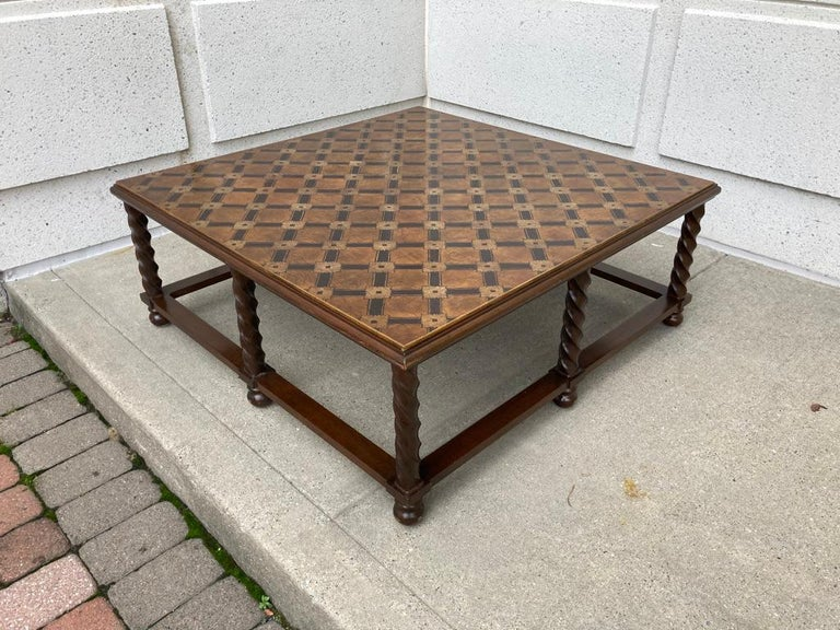 Mid Century Lacquered and Gilt Coffee Table with Walnut Base For Sale 6