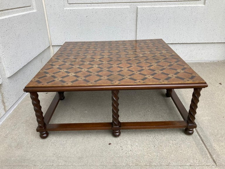 Mid Century Lacquered and Gilt Coffee Table with Walnut Base For Sale 7