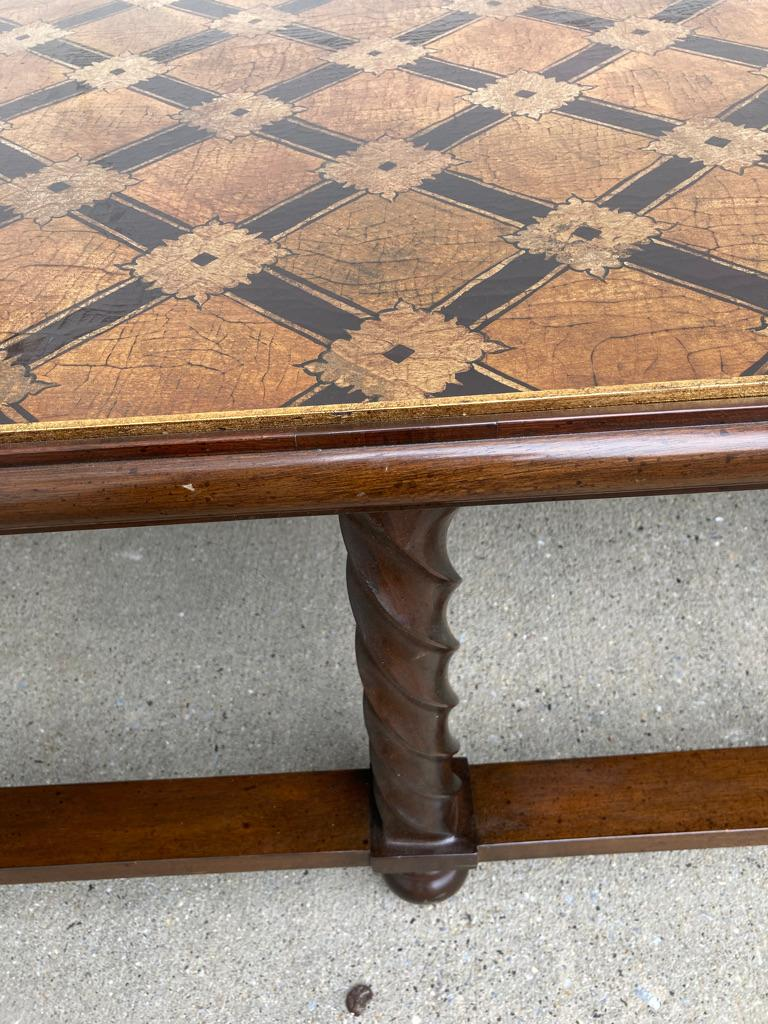 Mid Century Lacquered and Gilt Coffee Table with Walnut Base For Sale 8