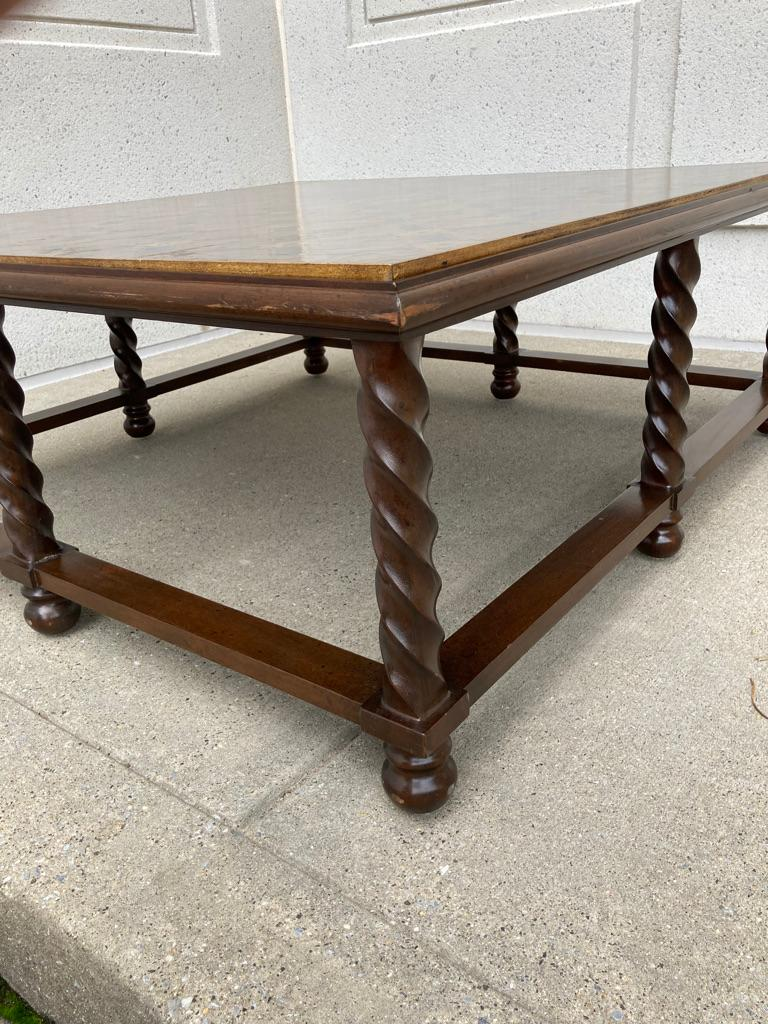 Mid Century Lacquered and Gilt Coffee Table with Walnut Base For Sale 9