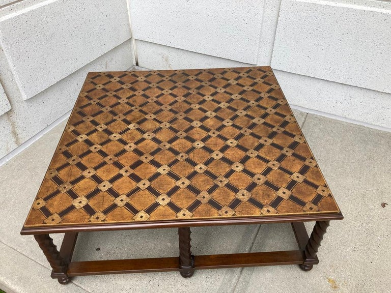 Mid Century Lacquered and Gilt Coffee Table with Walnut Base For Sale 11
