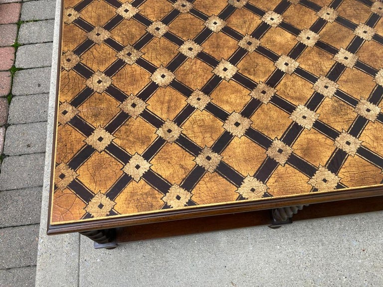Mid Century Lacquered and Gilt Coffee Table with Walnut Base For Sale 13