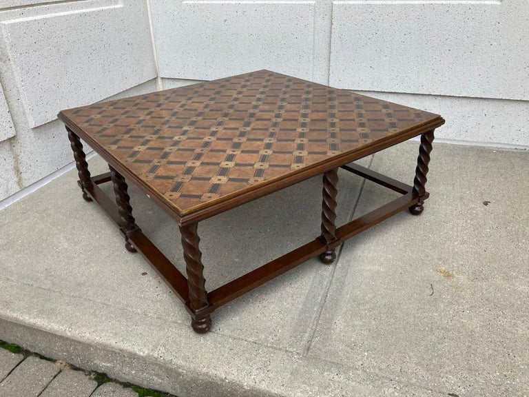 Mid-Century Modern Mid Century Lacquered and Gilt Coffee Table with Walnut Base For Sale