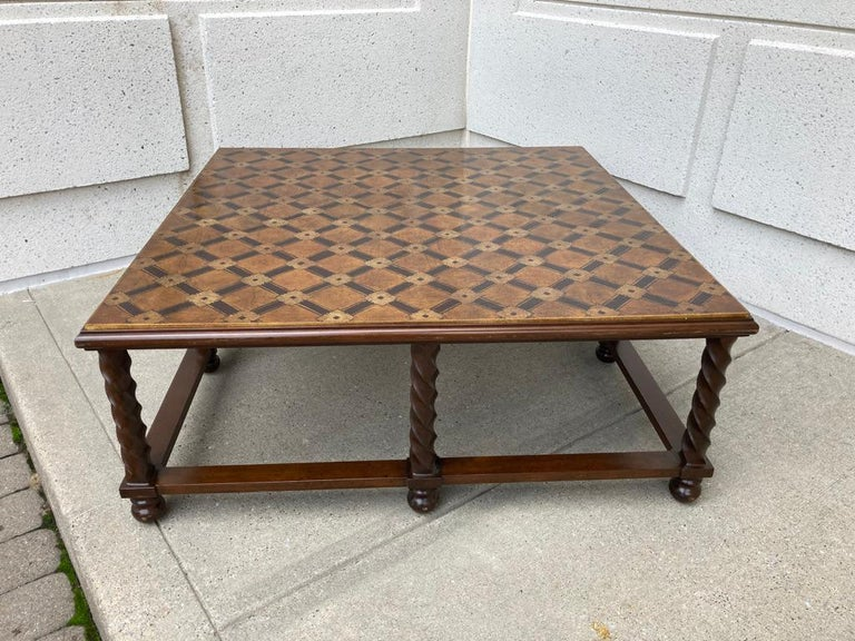American Mid Century Lacquered and Gilt Coffee Table with Walnut Base For Sale