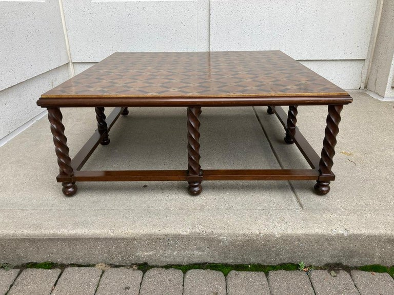 Mid Century Lacquered and Gilt Coffee Table with Walnut Base In Good Condition For Sale In Stamford, CT