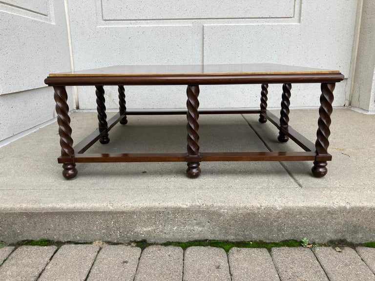20th Century Mid Century Lacquered and Gilt Coffee Table with Walnut Base For Sale