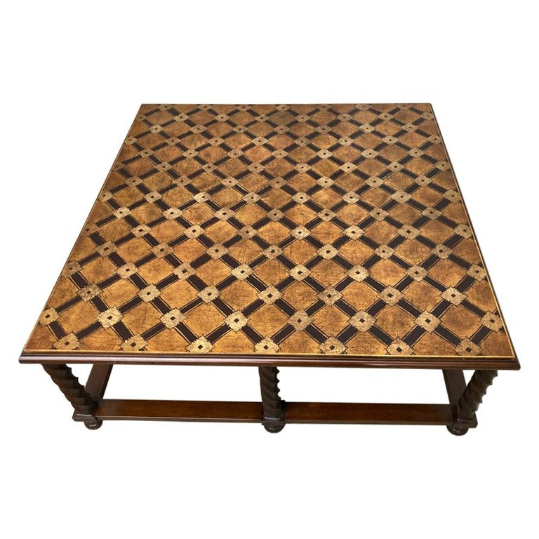 Mid Century Lacquered and Gilt Coffee Table with Walnut Base For Sale