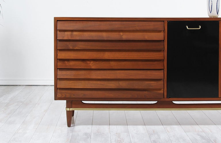 Brass Midcentury Lacquered and Walnut Dresser by Merton Gershun