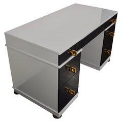 Midcentury Lacquered Double Pedestal Desk