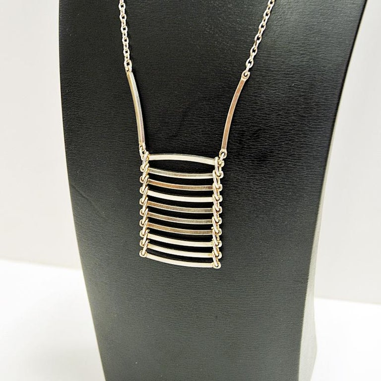 Polished Midcentury Ladderlike Silverpendant by NE From 1960s, Denmark For Sale