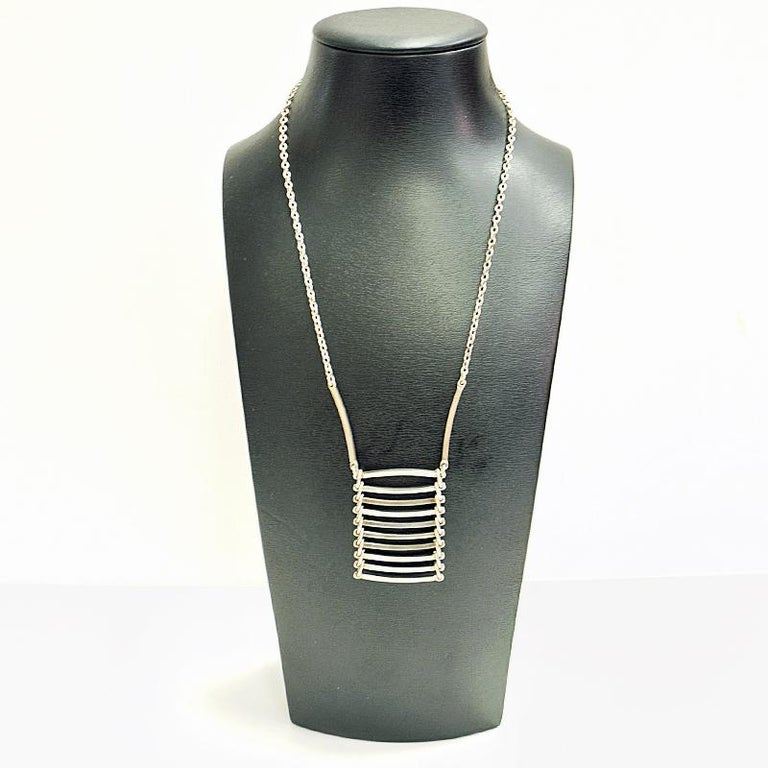 Midcentury Ladderlike Silverpendant by NE From 1960s, Denmark In Good Condition For Sale In Stockholm, SE