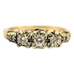 Midcentury Ladies 14-Karat Yellow and White Gold Brilliant Cut Diamond Ring