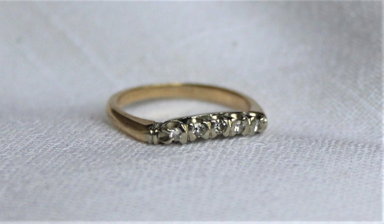 Mid Century Ladies 14-Karat Yellow & White Gold & Diamond Wedding Ring Set For Sale 3
