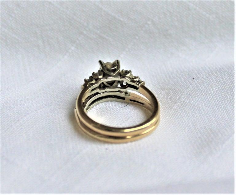 Mid Century Ladies 14-Karat Yellow & White Gold & Diamond Wedding Ring Set For Sale 4
