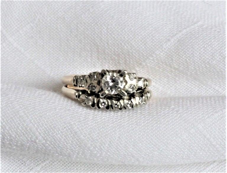 Mid Century Ladies 14-Karat Yellow & White Gold & Diamond Wedding Ring Set For Sale 6