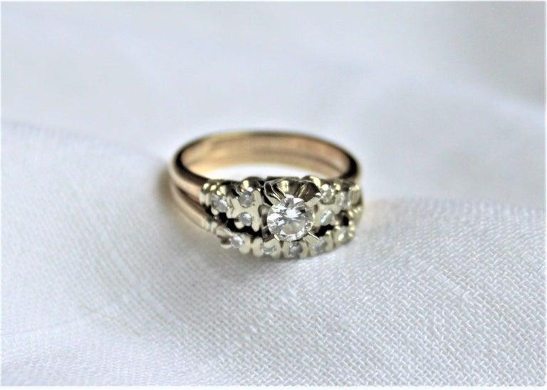 Mid-Century Modern Mid Century Ladies 14-Karat Yellow & White Gold & Diamond Wedding Ring Set For Sale