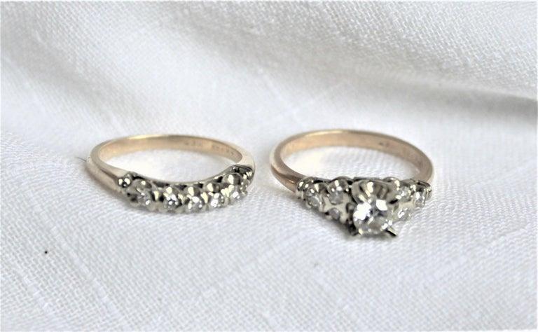 Unknown Mid Century Ladies 14-Karat Yellow & White Gold & Diamond Wedding Ring Set For Sale