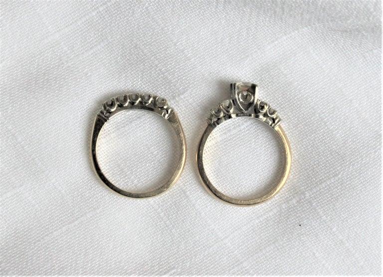 Hand-Crafted Mid Century Ladies 14-Karat Yellow & White Gold & Diamond Wedding Ring Set For Sale