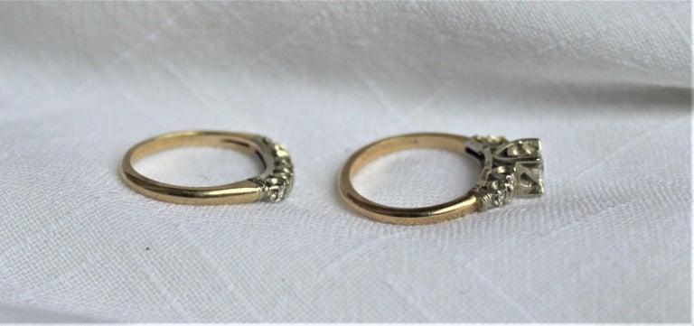 20th Century Mid Century Ladies 14-Karat Yellow & White Gold & Diamond Wedding Ring Set For Sale