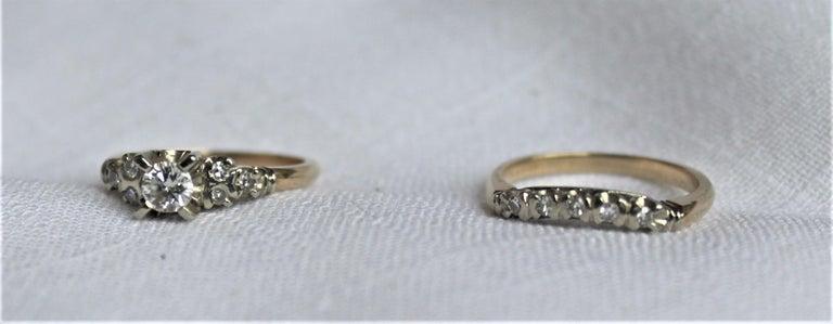Mid Century Ladies 14-Karat Yellow & White Gold & Diamond Wedding Ring Set For Sale 1