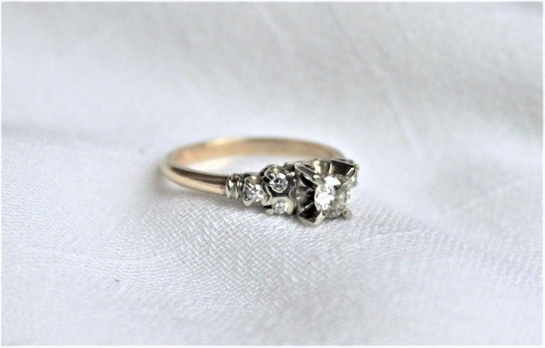 Mid Century Ladies 14-Karat Yellow & White Gold & Diamond Wedding Ring Set For Sale 2