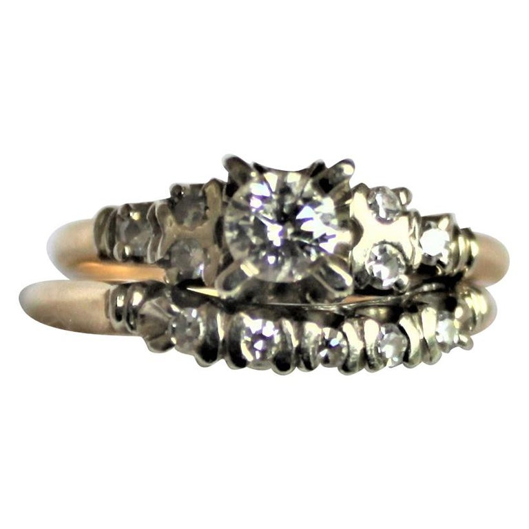 Mid Century Ladies 14-Karat Yellow & White Gold & Diamond Wedding Ring Set For Sale