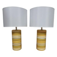 Pair of Mid-Century Yellow Ceramic Table Lamps