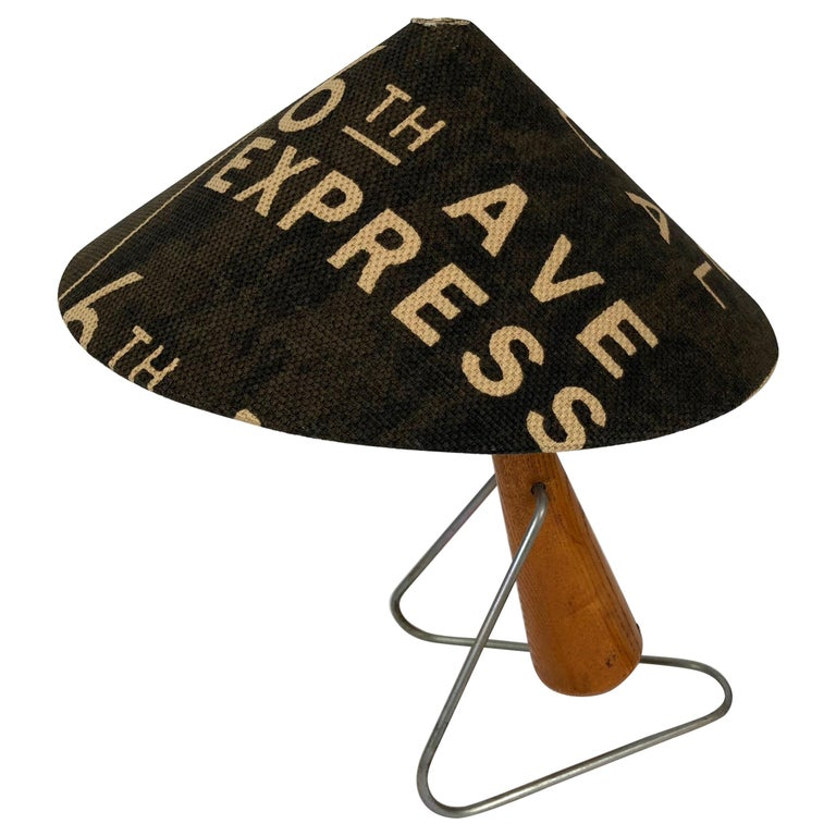 Midcentury Lamp with Shade in Martin Andrew Linen For Sale