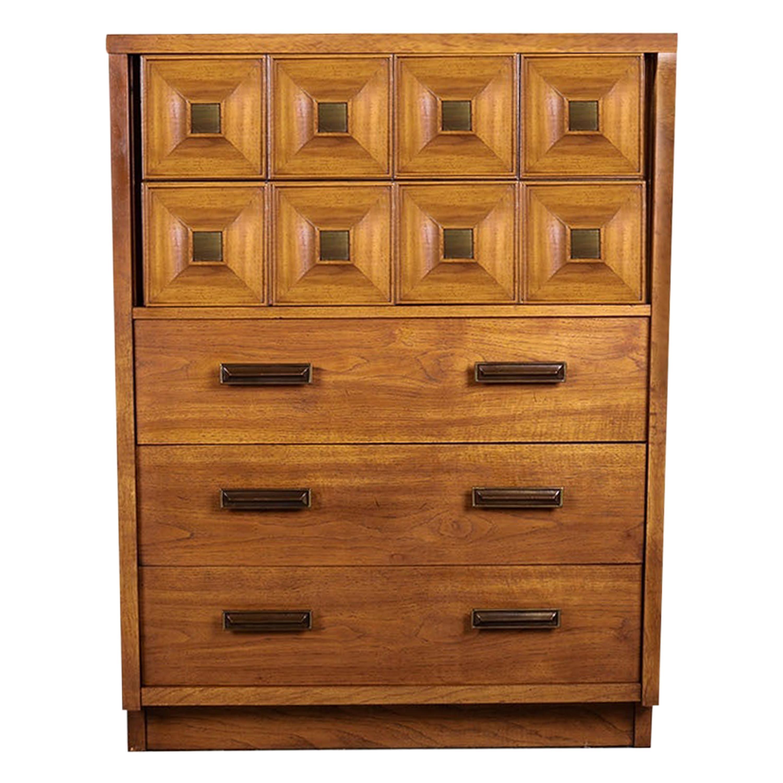 Mid Century Lane Furniture Five Drawer Tall Highboy Dresser