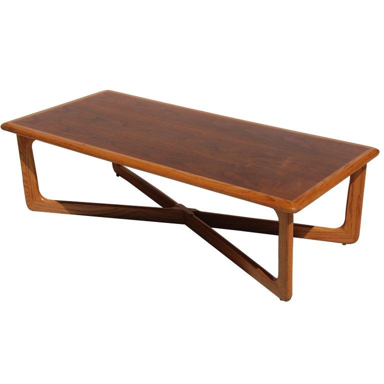 American Midcentury Lane Perception Oak Walnut X-Base Coffee Table For Sale