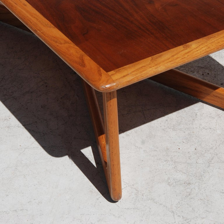 20th Century Midcentury Lane Perception Oak Walnut X-Base Coffee Table For Sale