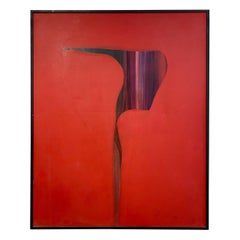 Mid-Century Large Artist Signed Red Abstract Painting Grand Message 1