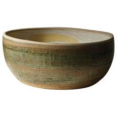 Mid Century Large Bowl in Ceramic by Hanne Schneider, 1988