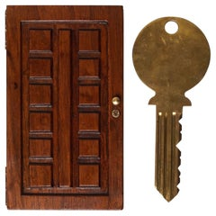 Midcentury Large Brass Key in Walnut Wood Flat Box Shaped as a Door