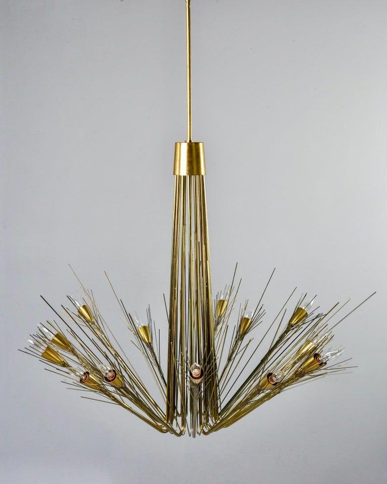 Midcentury Large Brutalist Style Brass 14-Light Chandelier For Sale 7