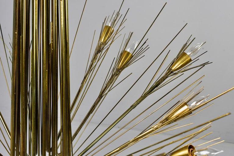 American Midcentury Large Brutalist Style Brass 14-Light Chandelier For Sale