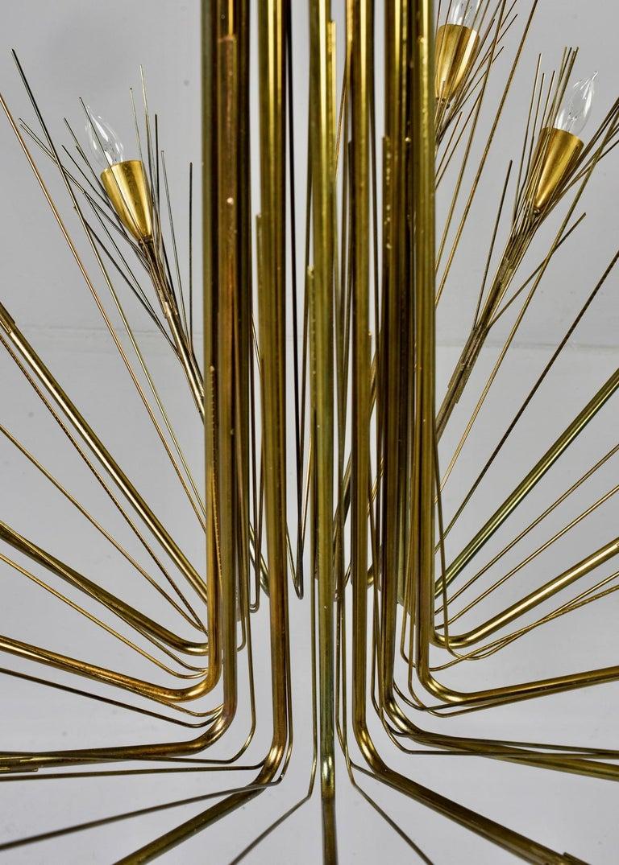 Midcentury Large Brutalist Style Brass 14-Light Chandelier For Sale 3