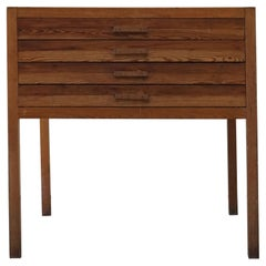Mid Century Large Danish Drawing Cabinet, Made in Pine and Beech, 1960s