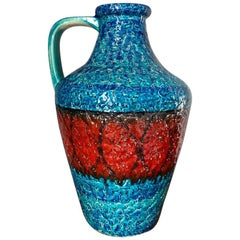 Mid Century Large Fat Lava Op Art Vase by Bay Ceramics, Germany