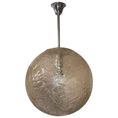 Midcentury Large Frozen Glass Pendant Lamp, 1960s, Czechoslovakia