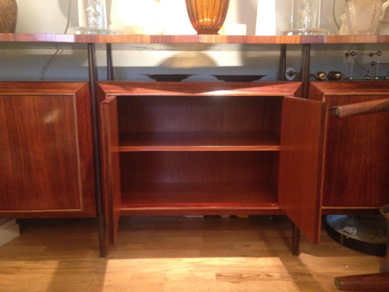 Midcentury Large Italian Credenza in Three Sections Indian Cherry and Rosewood For Sale 3