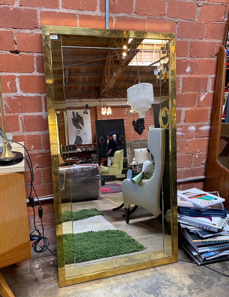 Late 20th Century Mid Century Large Italian Wall Mirror, 1950s For Sale