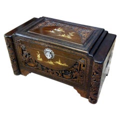 Midcentury Large Oriental Camphor Wood Chest, Trunk, China, 1940s