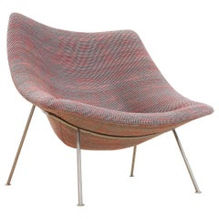 Midcentury Large Oyster Lounge Chair by Pierre Paulin in Grey Red Nevada, 1960s