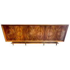 Mid Century Large Scale Italian Black Walnut and Brass Sideboard
