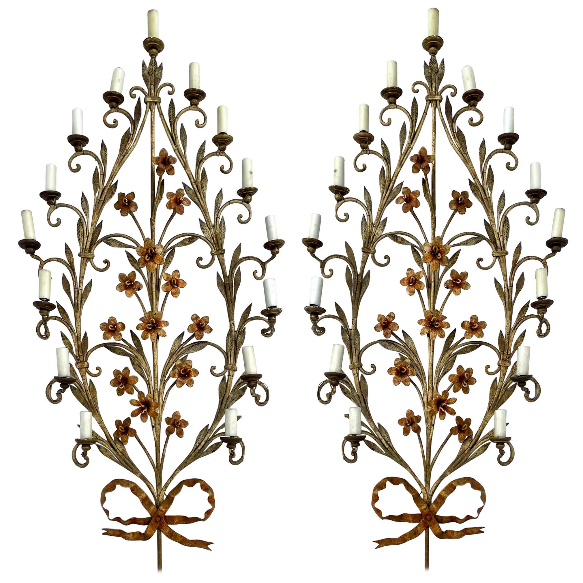 Midcentury Large Scale Italian Floral Tole Sconces, Pair