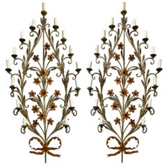 Midcentury Large Scale Italian Floral Tole Sconces, Pair