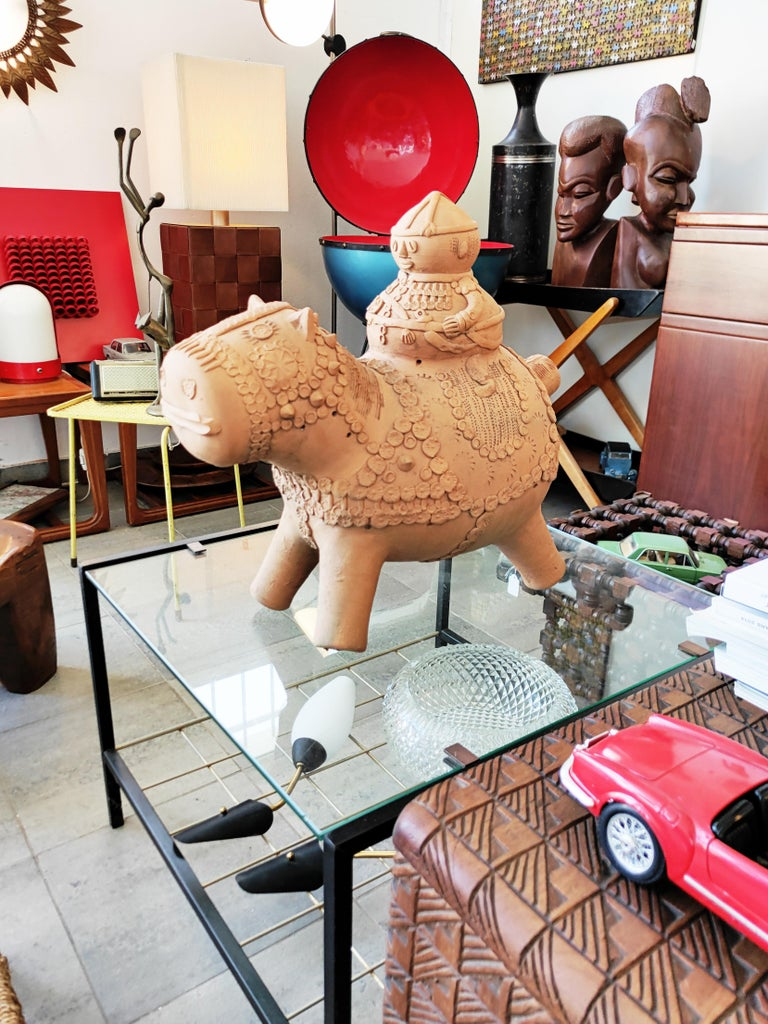 Midcentury Large Terracotta Hippopotamus Sculpture, Signed For Sale 12