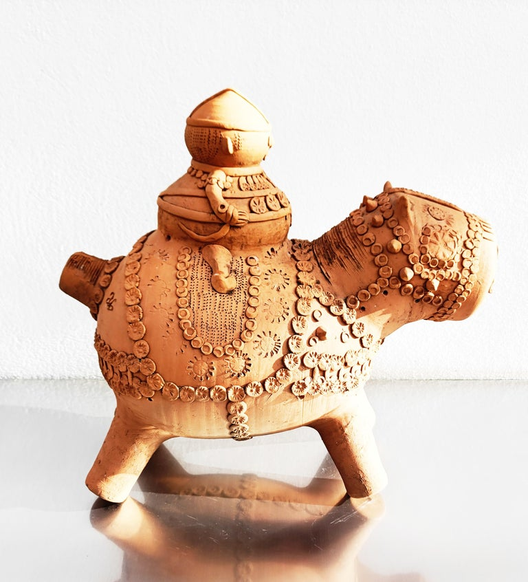 Spanish Midcentury Large Terracotta Hippopotamus Sculpture, Signed For Sale
